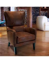 High Backed Armchairs Brown Microfiber Fabric High Backed Armchair