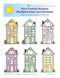 math fact families multiplication division fact family worksheets multiplication and division with houses
