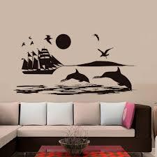 popular shark vinyl plane buy cheap shark vinyl plane lots from seagulls shark ship on the sea wall stickers scenery mural wall decals kids bedroom living room