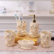 Porcelain Bathroom Accessories Sets Piece Carved Beige Ceramic Bathroom Accessories Sets