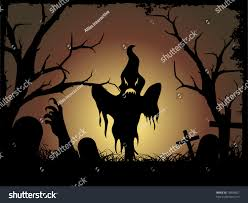 halloween graveyard background illustration stock vector 16858657