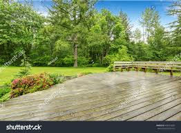 view wooden walkout deck patio area stock photo 449213269