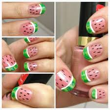 watermelon nails nail art do it yourself how to do manicure summer