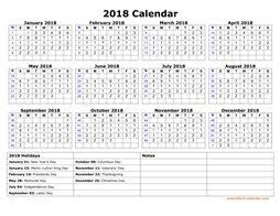 printable calendar with holidays 2018 printable calendar 2018 free download yearly calendar templates
