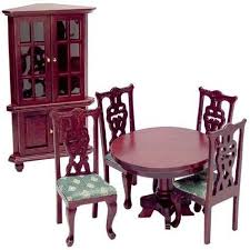 Dollhouse Dining Room Furniture Aztec 1 Scale Dollhouse Dining Room Furniture Set Green Mahogany