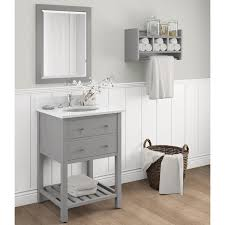 Bathroom Vanities And Mirrors Sets Harrison Marble Sink Grey 24 In Bathroom Vanity With Storage Shelf