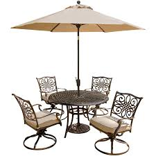 Outdoor Table Umbrella Traditions 5 Piece Dining Set With Four Swivel Chairs And 48 In