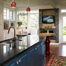 cuisine télé cheminées cheminee tele cuisine carrelage tapis plan travail