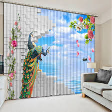 elegant and unique with use peacock curtains room design print