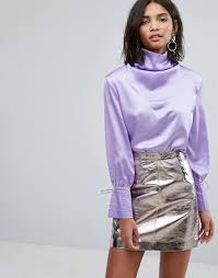 lilac blouse drapey blouse in satin