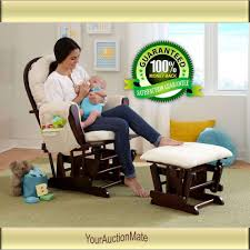 Glider Recliner With Ottoman For Nursery Nursery Baby Glider Rocker And Ottoman Beige Cushions Espresso