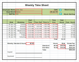 timesheet templates excel 1 2 u0026 4 week versions tool store