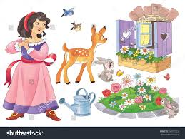 fairy tale snow white dwarfs stock illustration 534777223