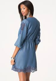 bebe embroidered chambray dress in blue lyst