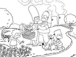 the simpsons family vacation coloring page the simpsons family