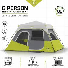 core 6 person instant cabin tent 11 u0027 x 9 u0027 campingtents store com