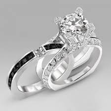 black engagement ring set interchangeable cut created white sapphire with black