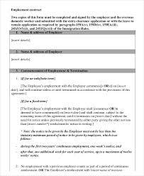sample employment agreement template standard employment contract