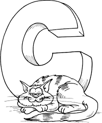 coloring sheet of letter a with a cat coloring point