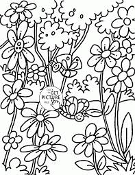 spring and little butterflies coloring page for kids seasons