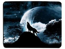 amazon com wolf howling at the moon rectangle mouse pad