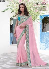 buy apparels light pink colour chiffon designer half half saree