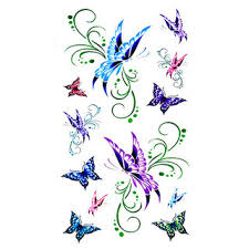 3d temporary sticker colored small butterflies designs for