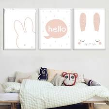 rabbit nursery kawaii bunny wall canvas poster animal rabbit