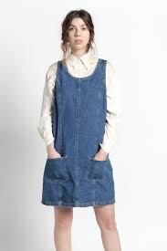 vintage 90s blue cotton denim jumper dress with pockets m