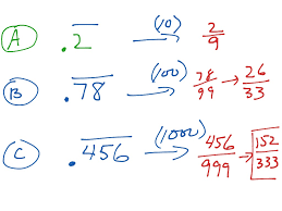 showme changing repeating decimals to fraction