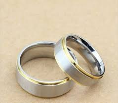 matching rings 2pcs gold silver titanium steel ring promise engagement
