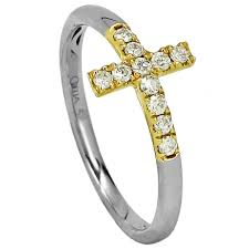 14k gold diamond v shaped ring favery 14k white and yellow gold 0 17ctw diamond cross fashion ring