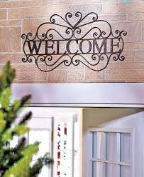 Home Decor Signs And Plaques Scrolled Metal Rustic Welcome Wall Plaque Outdoor Greeting Porch