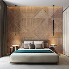 Modern And Creative Bedroom Design Featuring Wooden Panel Wall - Creative ideas for bedroom walls