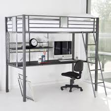 bedroom interior gray steel loft bed with long desk also shelf placed under the bed combined with black chair on the white floor loft bed with desk