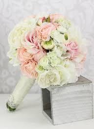 Silk Bridal Bouquet Silk Bride Bouquet Peony Flowers Pink Cream Spring Mix Shabby Chic