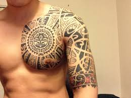black ink maori chest for