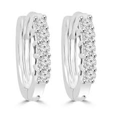 hoop huggie 0 25 ct cut diamond hoop huggie earrings in 14 kt