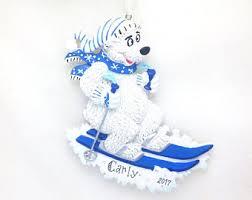 Polar Bear Christmas Decoration Uk by Skiing Ornament Etsy Uk