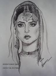 pencil sketch of bollywood actress rekha desipainters com