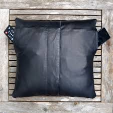 Upcycled Leather Bags - upcycled black leather pillow cover 16