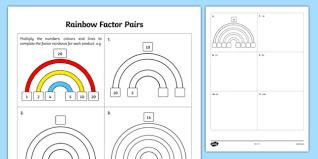 rainbow factor pairs factors multiples prime numbers