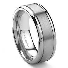 mens titanium rings tensus titanium 8mm grooved wedding ring