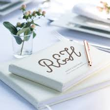 Leather Guest Book Wedding Personalised Ivory Leather Guest Book