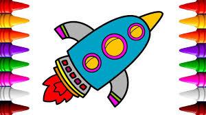 rocketship coloring book draw cartoon rocketship