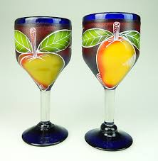 wine glass sangria fruit hand painted wine made in mexico fruit