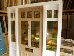 victorian glass door panels stained glass front door with frame and sidelights window