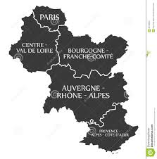 Provence Map Paris Centre Bourgogne Auvergne Provence Map France Stock