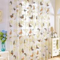cotton linen net curtains ready made cheap embroidered sheer