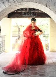 lana gerimovich custom made red ruffle wedding dress with sweet